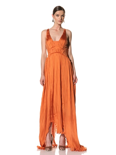 Bibhu Mohapatra Women's Pleated Mousseline Gown with Crystal Embroidered Straps (Tangerine)