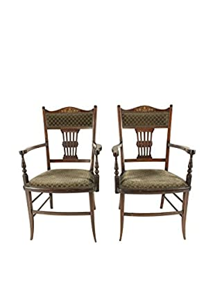 Pair of English Pierced Back Armchairs, Brown/Green/Gold