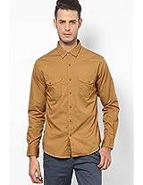 Khaki Casual Shirt Spykar