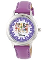 Disney Kids W000079 Fairies Time Teacher Stainless Steel Watch with Purple Leather Band