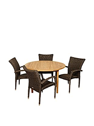 Amazonia Teak Kirkland 5-Piece Wicker Round Dining Set, Brown