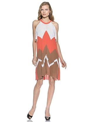 Stefanel Mini Kleid (Weiß/Orange)
