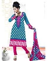 Saara Blue And Pink Printed Dress Material - 139D104