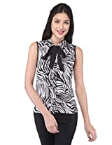 Purys Women's Solid Top (E-1600778SP-5015_White Black_XL)