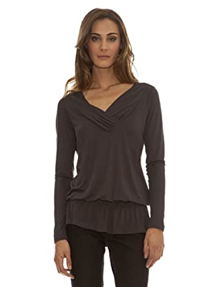 Trussardi Camiseta Escote En Pico Con Cuello (gris)