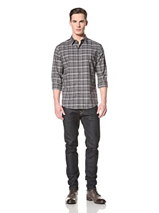 John Varvatos Collection Men's Classic Fit Shirt with Pick Stitch Detail (Licorice)