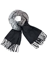 Dahlia Women's Scarf Shawl - Gradient Color Motif - Black