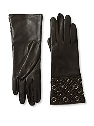 Portolano Women's Quilted Cuff Leather Gloves with Gold Rings (Teak)