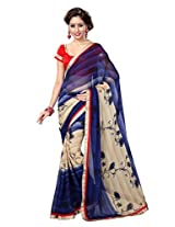 Sourbh Saree Attractive Lace Work Blue and Beige Chiffon Best Sarees for Women(with color option) Party Wear, Women Clothing Collection