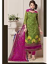 Saara Green And Purple Embroidered Dress Material - 142D3034