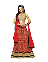 Suchi Fashion Red & Beige Net Semi Stitched Anarkali Suit/ Lehenga