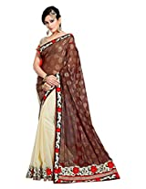 Brijraj Brown Cream Poly Georgette Beautiful Lace Border Saree With Unstitch Blouse
