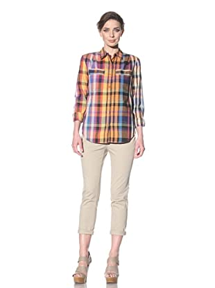 French Connection Women's Hippy Voile Check Top