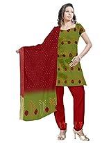 Kala Sanskruti Women's Cotton Satin Bandhani Olive Dress Material