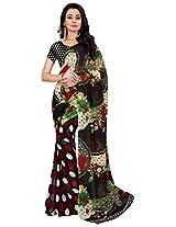 Silk Bazar Women's Faux Georgette Saree with Blouse Piece (Black)