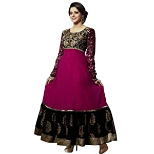 Black and Pink Aamna Sharif Long Anarkali Suit