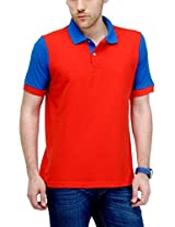 Yepme Men's Red Polo Cotton T-shirt -YPMPOLO0086_XL