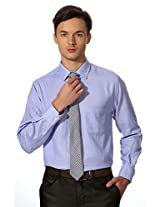 Peter England Blue Plaid Comfort Fit Shirt