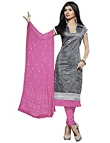 Manvaa EXCLUSIVE GREY AND PINK Embroidered Dress Material