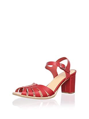 Swedish Hasbeens Women's Leather Peep-Toe Sandal (Red)