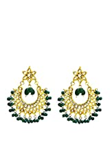Imli Street Green Beads Kundan Danglers Drop