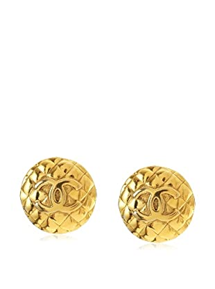 CHANEL Large Quilted Logo Button Earrings