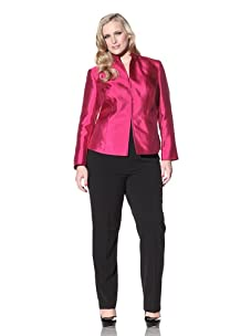 Jones New York Collection Women's Plus Stand Collar Jacket (New Garland)