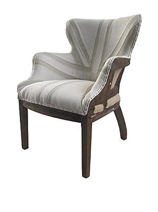 White x White Jacques Linen Chair, Off White/Tan