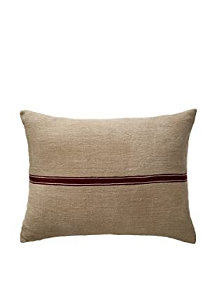 Vintage Hungarian Seed Bag Fabric Pillow, Oxblood Stripe