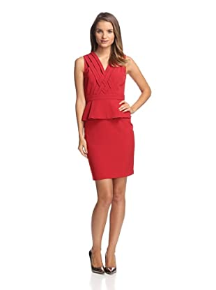 Chetta B Women's Peplum Dress with Crisscross Detail (Red)