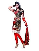 Anvi Creations Multi Orange Spun Cotton Dress Meterial ( Multi Orange_Free Size)