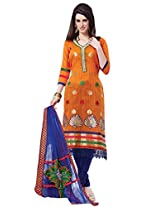 7 Colors Lifestyle Women Salwar Suit Dress Material (Abydr8603Vrna _Orange _Free Size)
