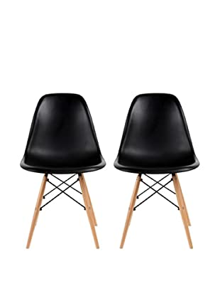 Euro Home Collection Set of 2 Paris Side Chairs, Black
