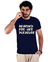 Enquotism Navy Blue Combed Fabric Round Neck Men T-Shirt-XXL Bearded for her Pleasure Navy Blue -XXL