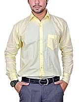 Mc-John Mens Linen Formal Shirt -Lemon -X-Large