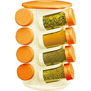 Pogo Branded 16 Pcs Spice Jar Set - White And Orange