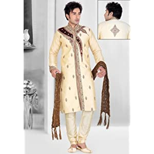 Utsav Fashion Cream Dupion Art Silk Men's Readymade Sherwani