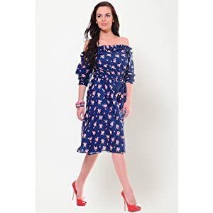 Yepme 3/4th Sleeve Printed Dress - Blue