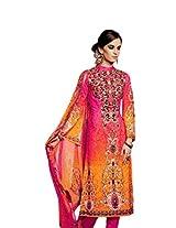 Pink & Orange color party wear un-stitched long anarkali salwar suit