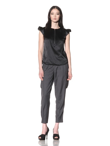 Bibhu Mohapatra Women's Cap Sleeve Top with a Slit (Black)