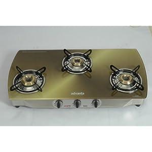 Advanta Premium Vetra Copper 3 Burner Glass top Gas Stove with Automatic Ignition, multicolor