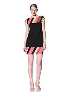Muse Women's Ponte V-Back Dress with Stripe (Hot Pink/Multi)