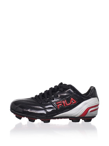 Fila Kid's Calcio II Rubber Blade Soccer Cleat (Toddler/Little Kid/Big Kid) (Black/Metallic Silver/Chinese Red)