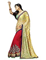 Manvaa Fancy Multicolor saree with blouse piece