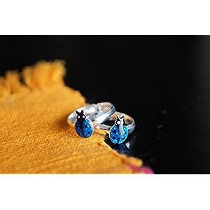Gajgauri Silver Toe Ring in Silver, Blue & Black