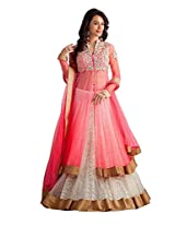 Clickedia Women's and Girls Net Embroidered Semi Stitched Pink and White Lehenga Choli/ Lehenga Suit