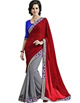 Indian Women Georgette Saree (Ga.50016 _Red And Grey)