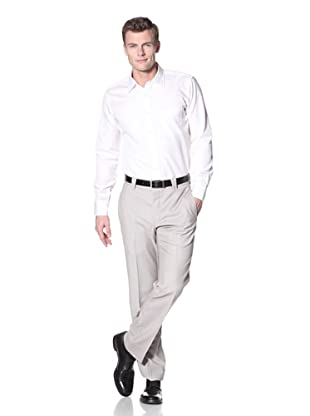 Incotex Ivory Men's Wool Flat Front Trouser (Oyster)