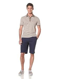 Benson Men's Short Sleeve Stripe Polo (Khaki/Ecru)