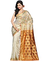 Utsav Fashion Women's Off White Art Silk Saree with Blouse